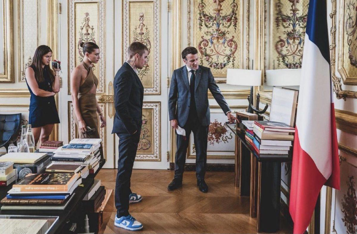 Justin and Hailey Bieber with President Emmanuel Macron